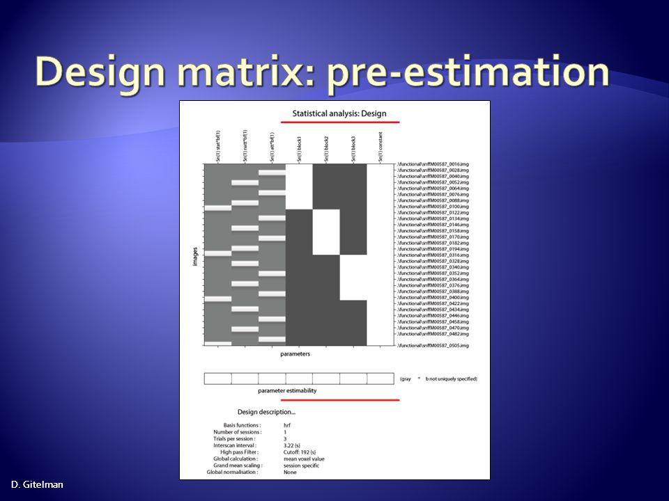 Design matrix: pre-estimation