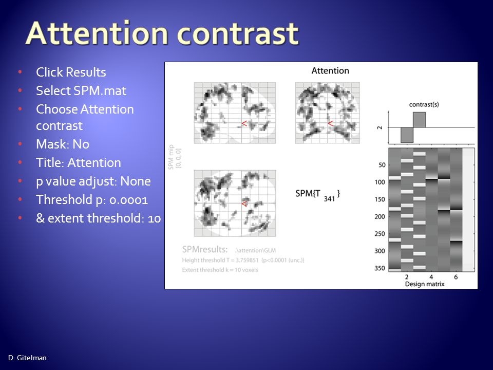 Attention contrast Click Results Select SPM.mat