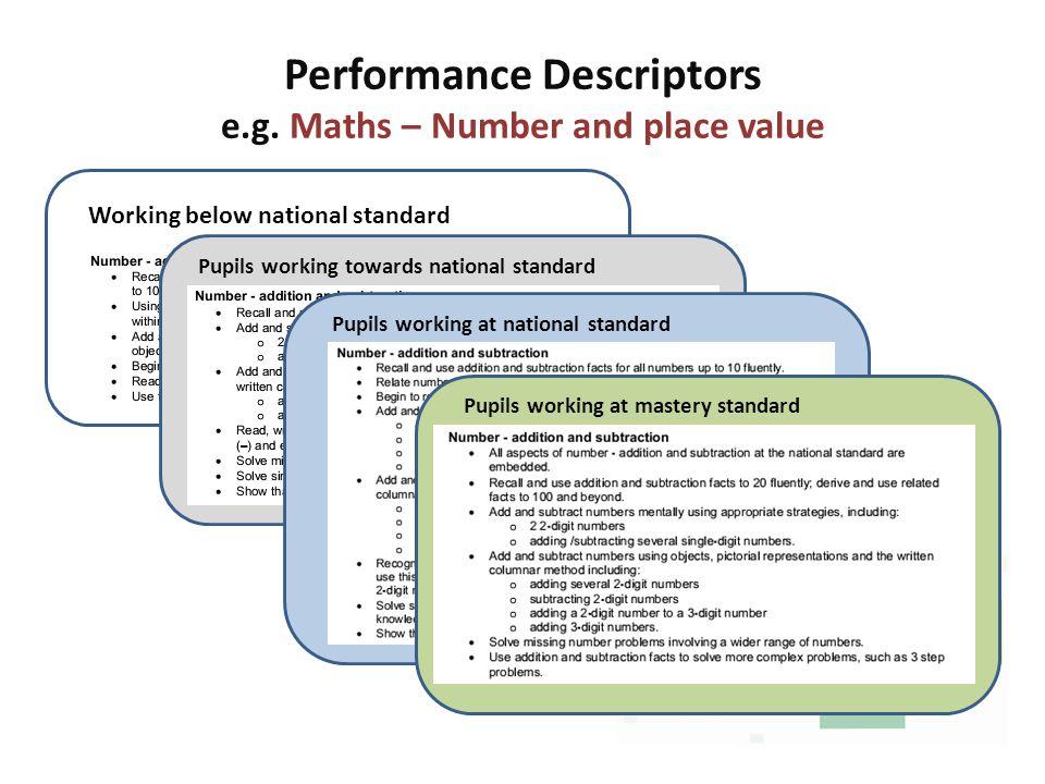 Performance Descriptors e.g. Maths – Number and place value