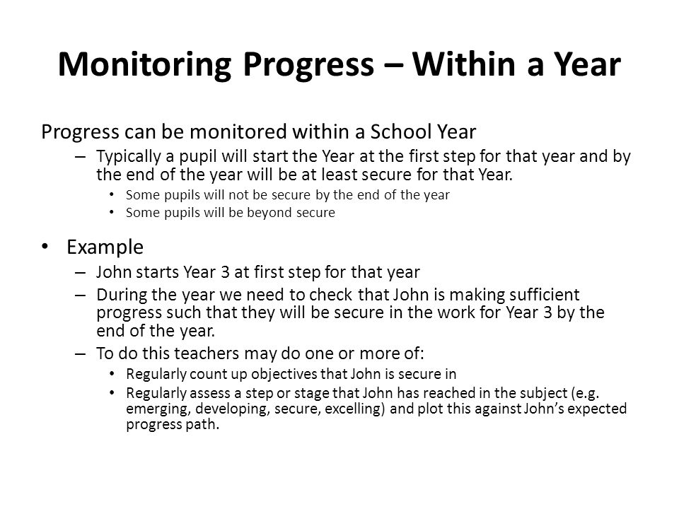 Monitoring Progress – Within a Year