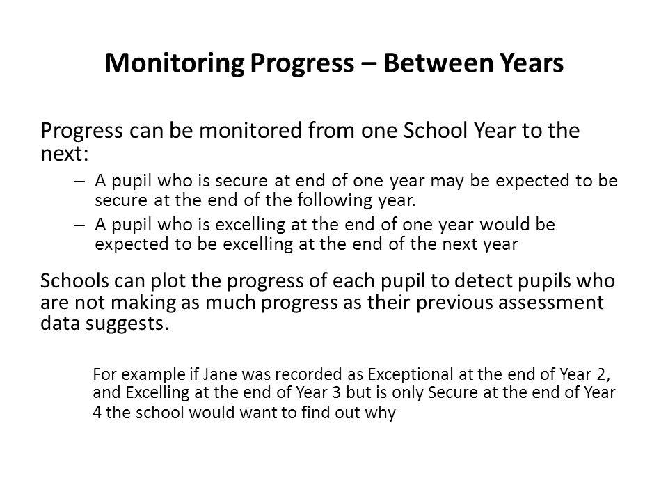 Monitoring Progress – Between Years