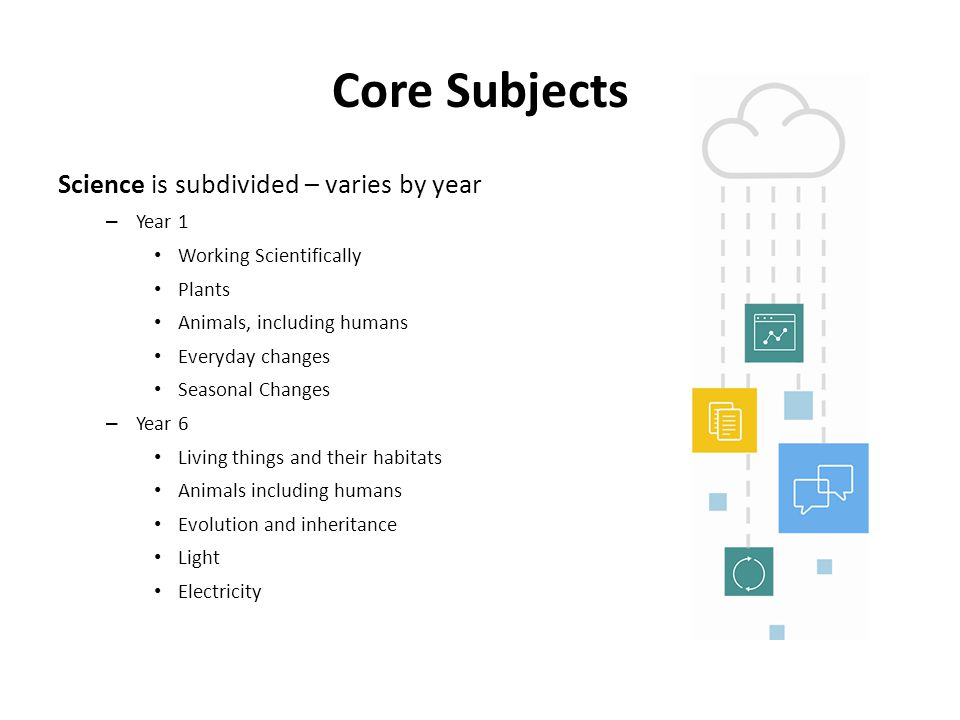 Core Subjects Science is subdivided – varies by year Year 1