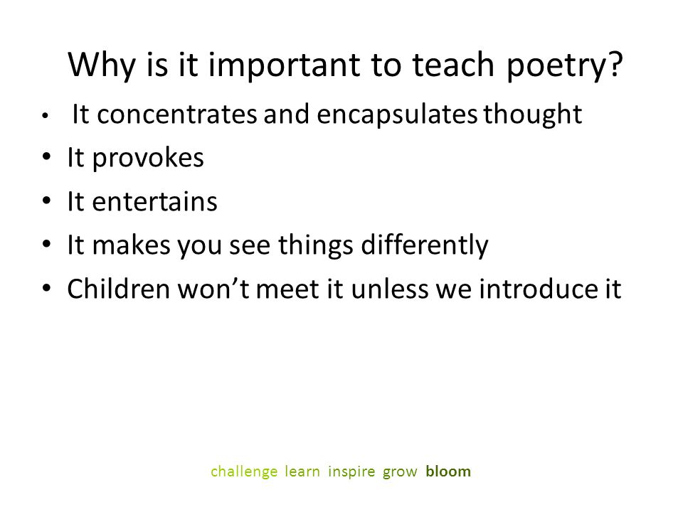 Why is it important to teach poetry
