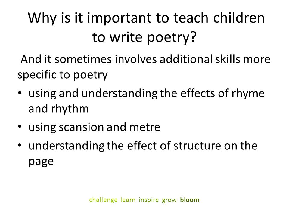 Why is it important to teach children to write poetry