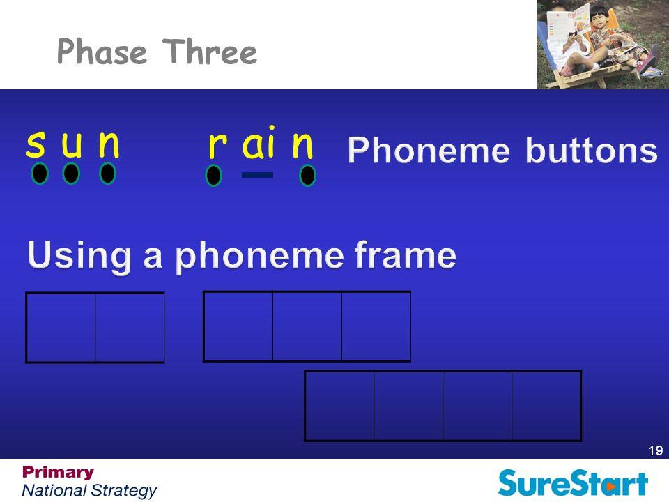 s u n r ai n Using a phoneme frame Phoneme buttons Phase Three