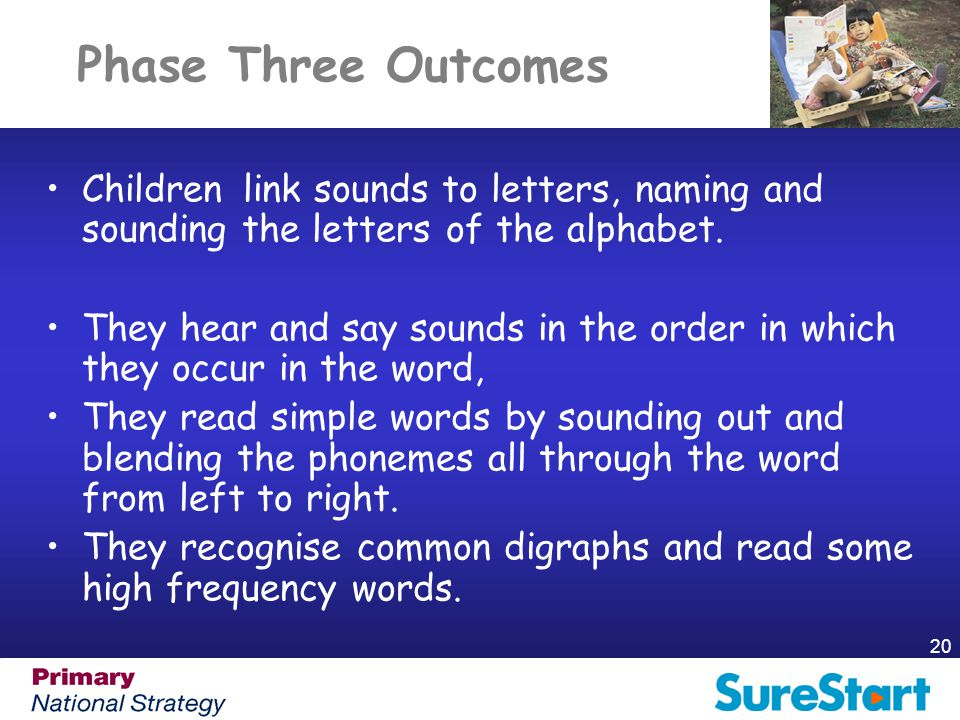 Phase Three Outcomes Children link sounds to letters, naming and sounding the letters of the alphabet.