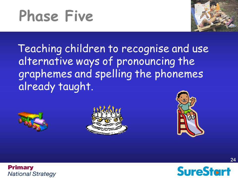 Phase Five Teaching children to recognise and use alternative ways of pronouncing the graphemes and spelling the phonemes already taught.