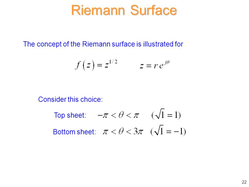 Riemann Surface The concept of the Riemann surface is illustrated for