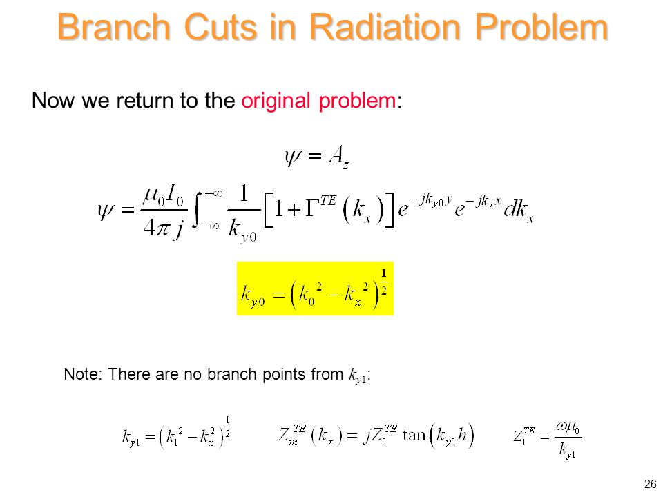 Branch Cuts in Radiation Problem