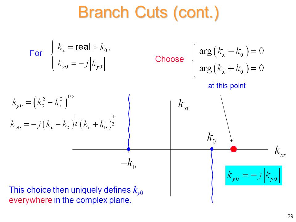 Branch Cuts (cont.) For Choose