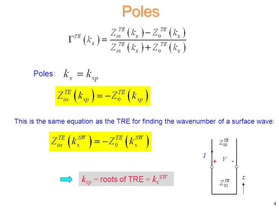 Poles kxp = roots of TRE = kxSW Poles: