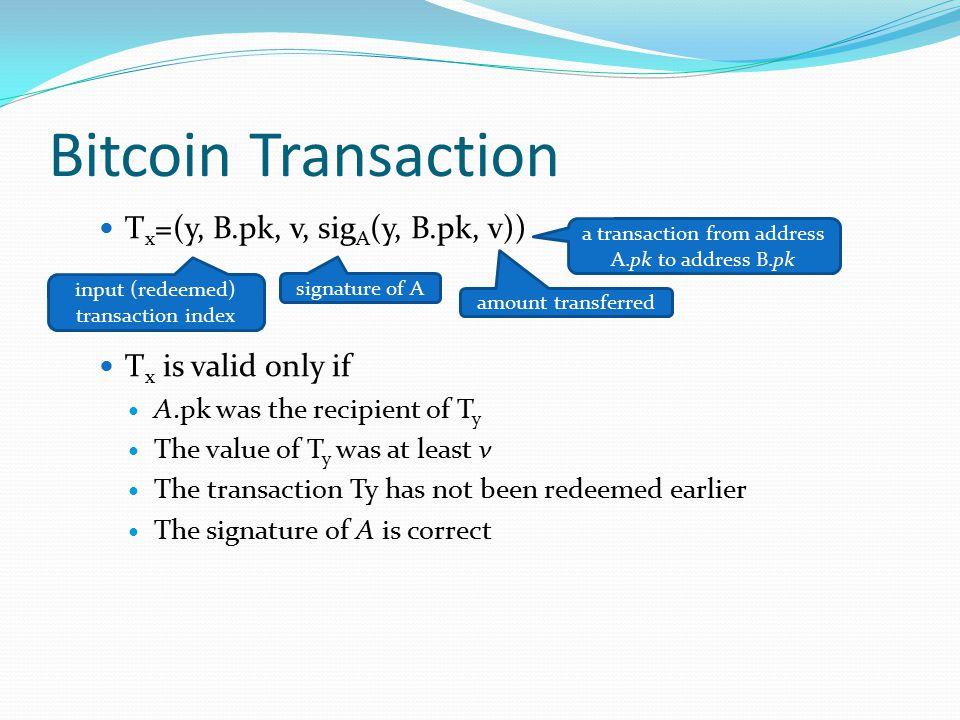 Bitcoin Transaction Tx=(y, B.pk, v, sigA(y, B.pk, v))