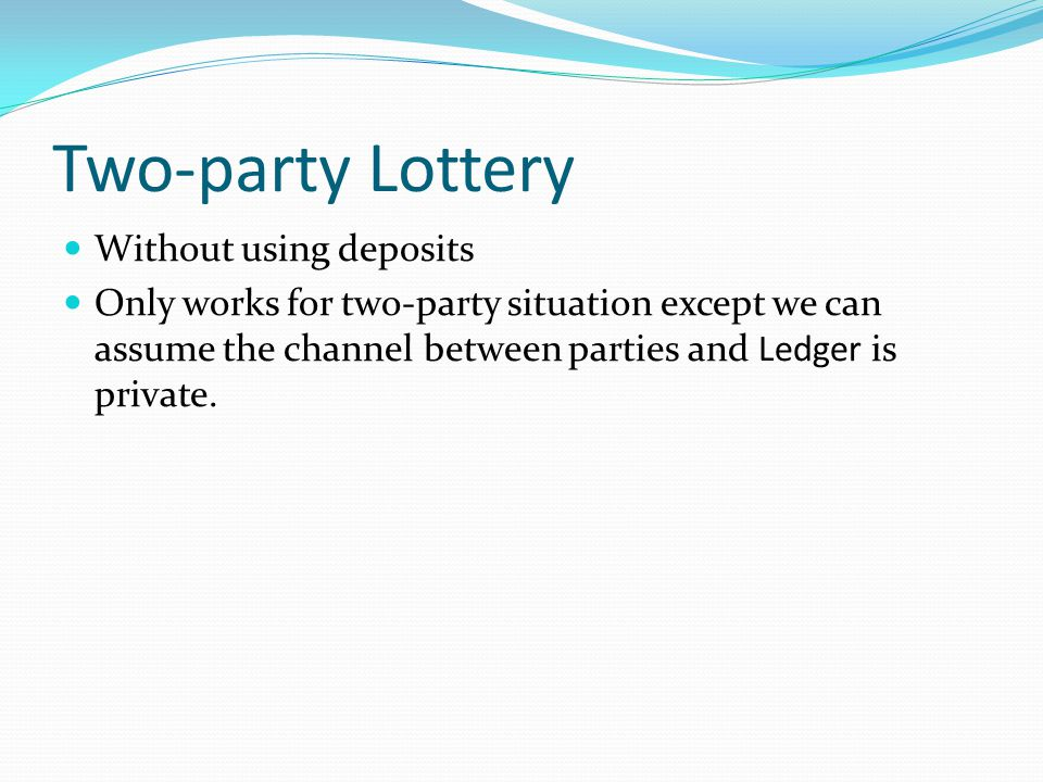 Two-party Lottery Without using deposits
