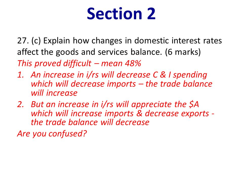 Section 2 27. (c) Explain how changes in domestic interest rates affect the goods and services balance. (6 marks)