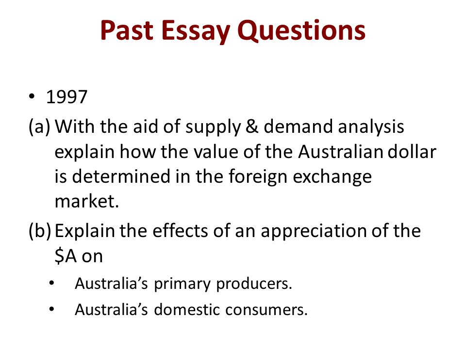 Past Essay Questions 1997.