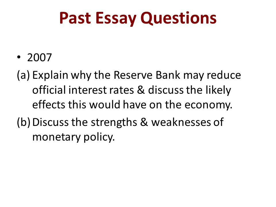 Past Essay Questions 2007.