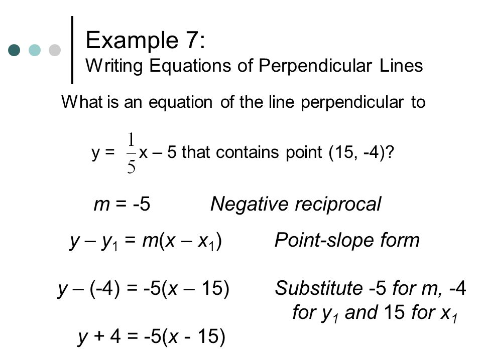 Example 7: Writing Equations of Perpendicular Lines