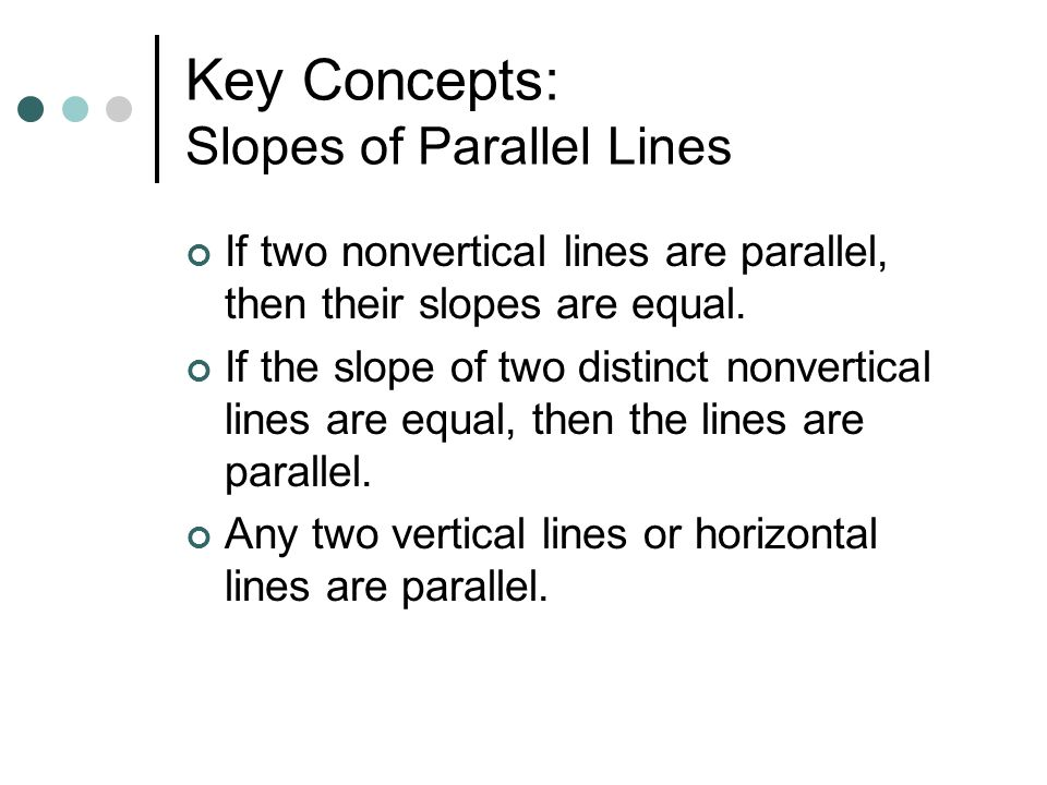 Key Concepts: Slopes of Parallel Lines