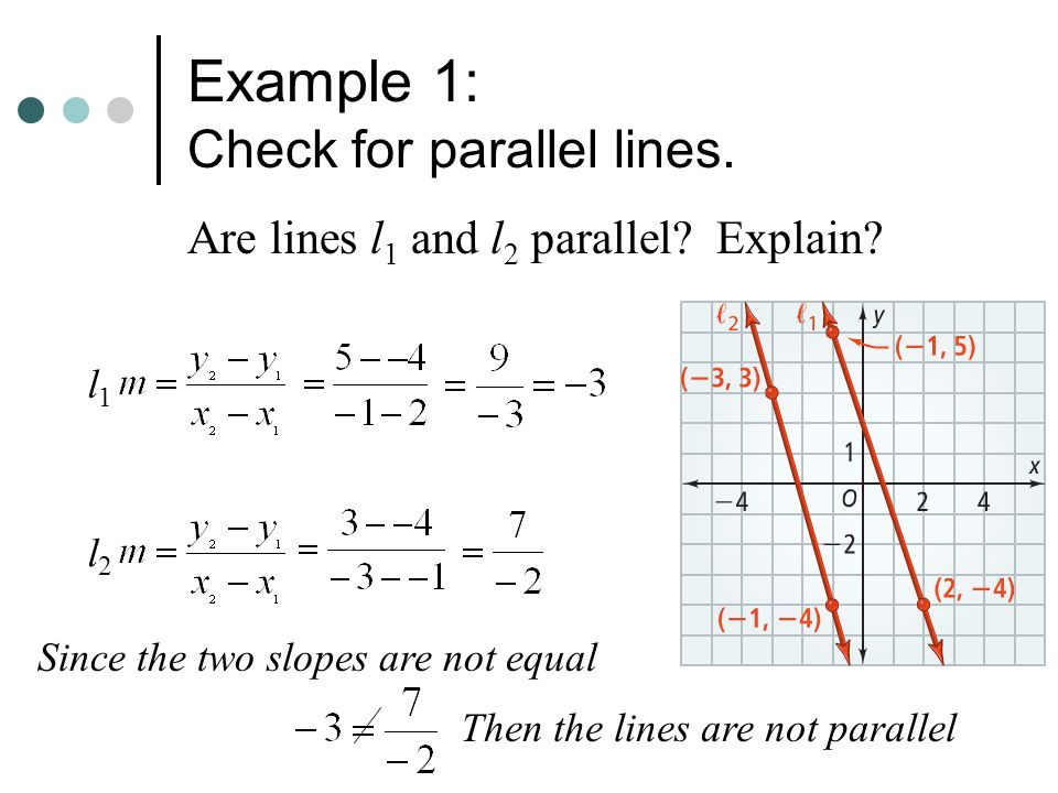 Example 1: Check for parallel lines.