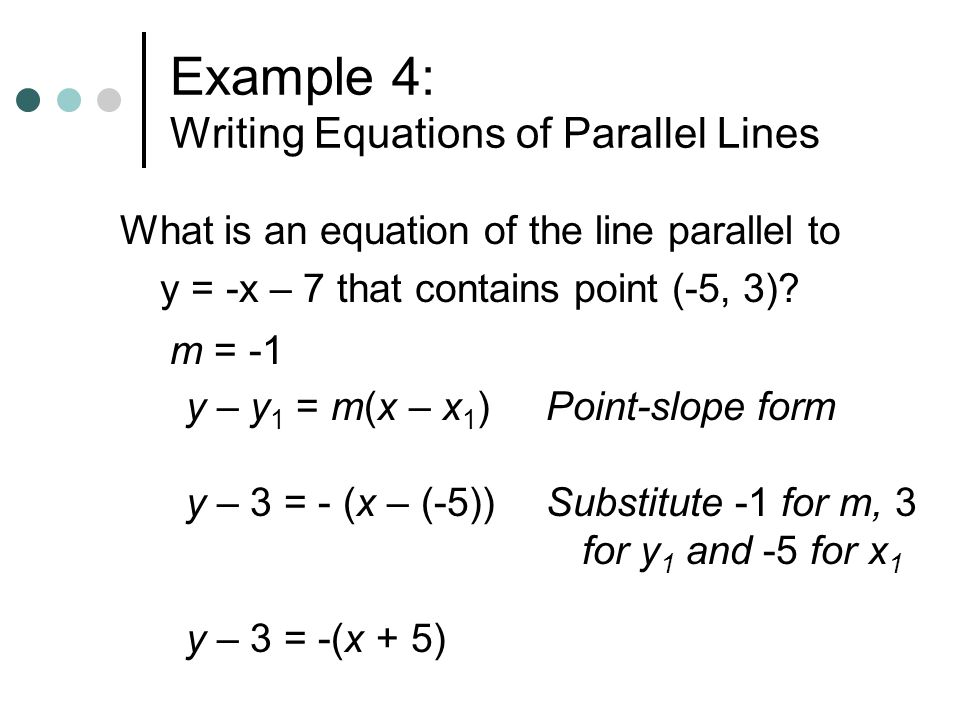 Example 4: Writing Equations of Parallel Lines