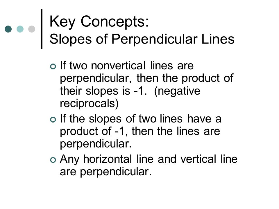 Key Concepts: Slopes of Perpendicular Lines