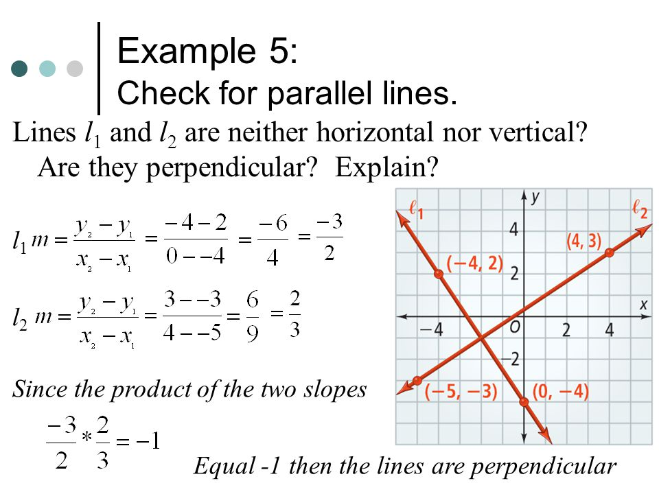 Example 5: Check for parallel lines.