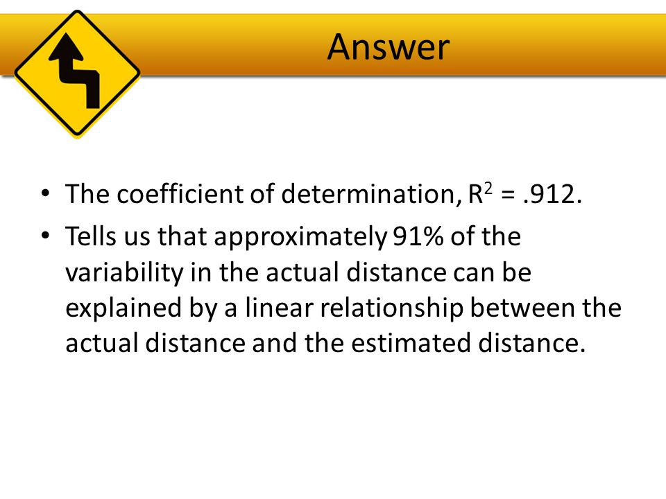 Answer The coefficient of determination, R2 = .912.
