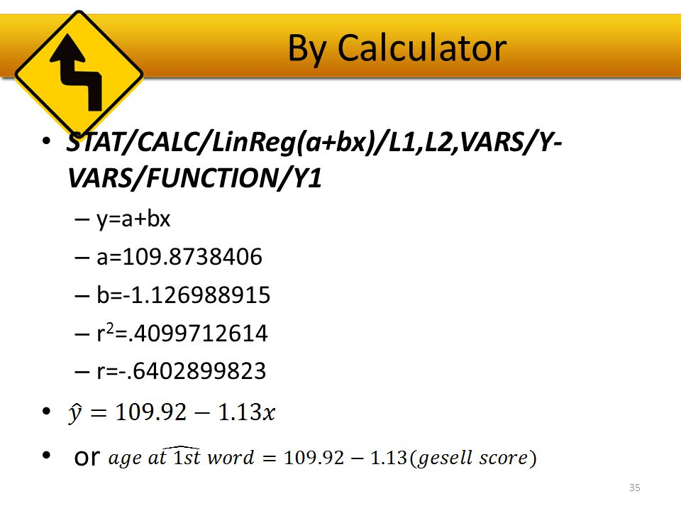 By Calculator STAT/CALC/LinReg(a+bx)/L1,L2,VARS/Y-VARS/FUNCTION/Y1 or