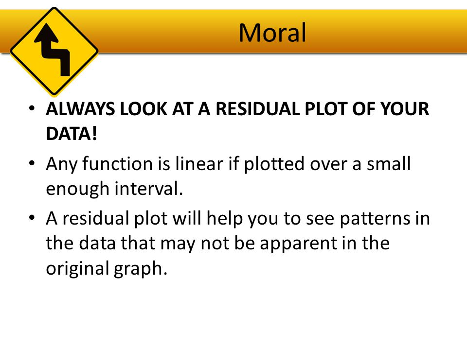 Moral Always look at a residual plot of your data!