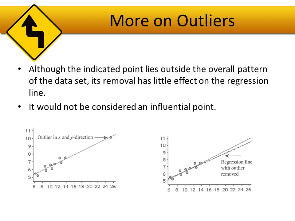 More on Outliers Although the indicated point lies outside the overall pattern of the data set, its removal has little effect on the regression line.