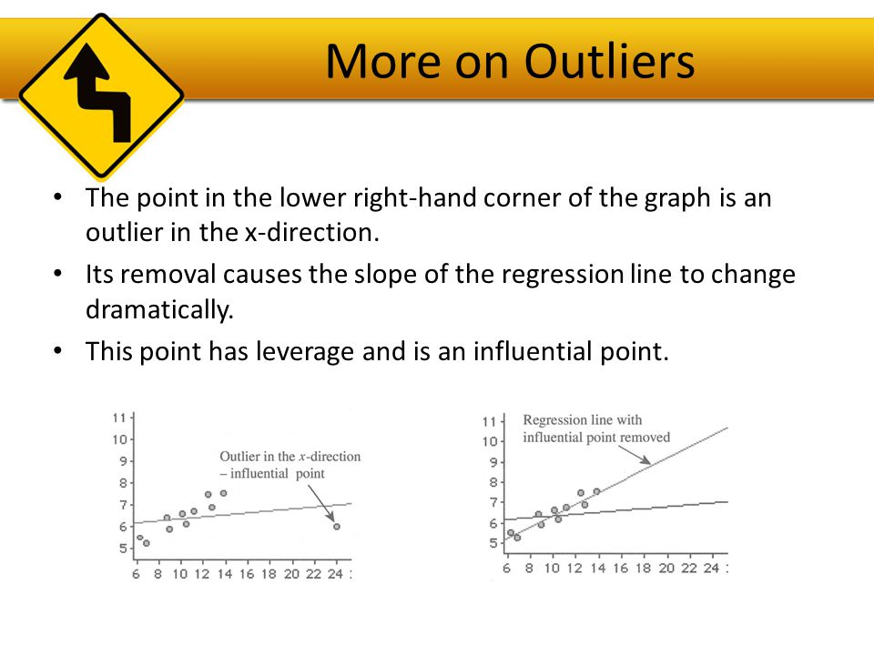 More on Outliers The point in the lower right-hand corner of the graph is an outlier in the x-direction.