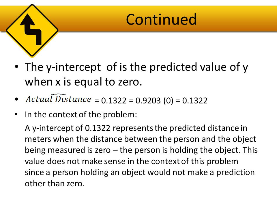Continued The y-intercept of is the predicted value of y when x is equal to zero. = 0.1322 = 0.9203 (0) = 0.1322.