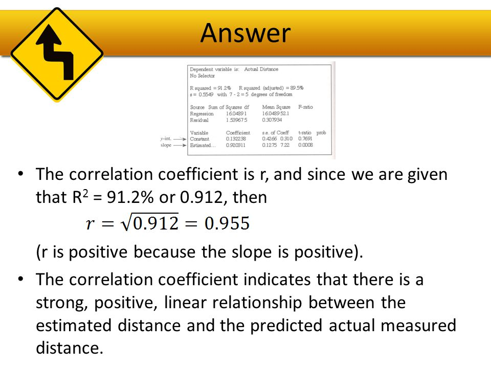 Answer The correlation coefficient is r, and since we are given that R2 = 91.2% or 0.912, then. (r is positive because the slope is positive).
