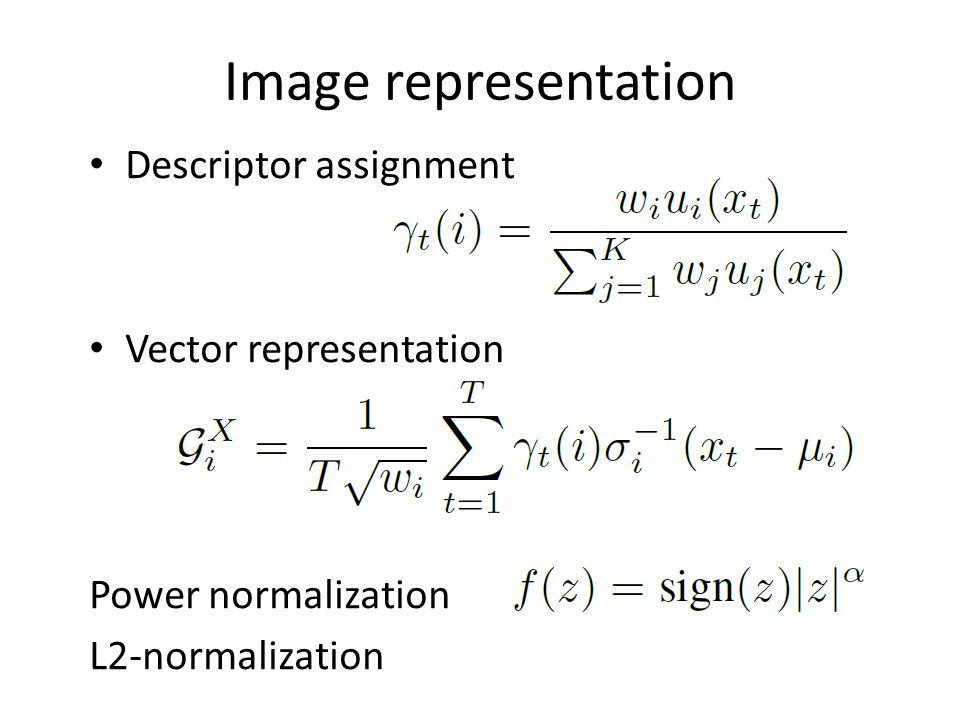 Image representation Descriptor assignment Vector representation