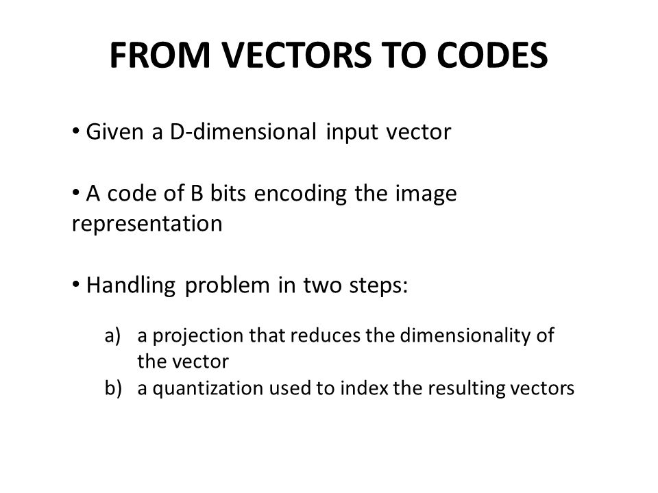 FROM VECTORS TO CODES Given a D-dimensional input vector
