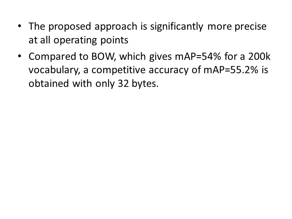 The proposed approach is significantly more precise at all operating points