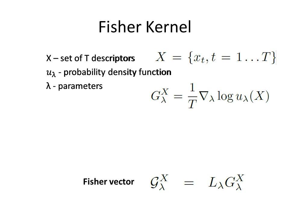 Fisher Kernel X – set of T descriptors 𝑢 λ - probability density function λ - parameters u is image independent.