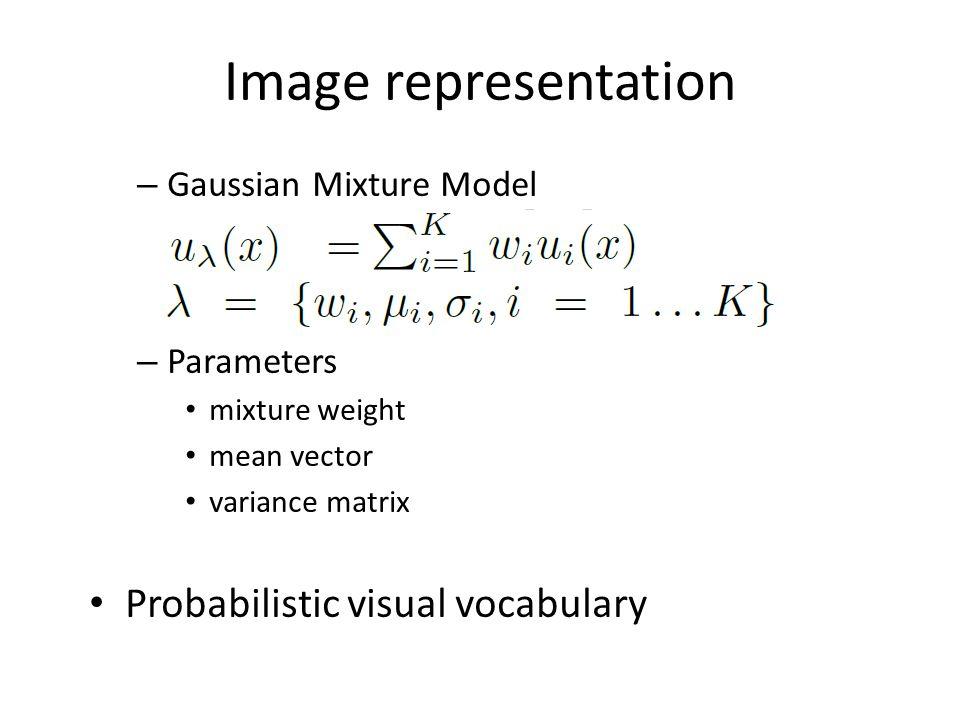 Image representation Probabilistic visual vocabulary
