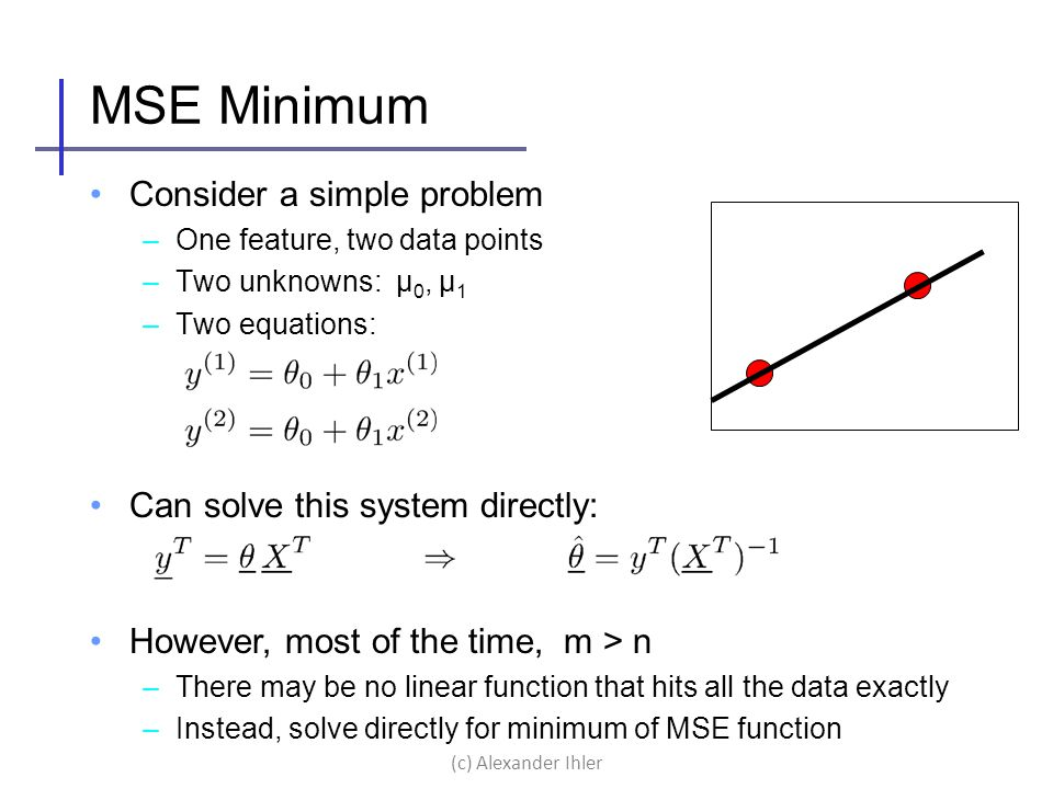 MSE Minimum Consider a simple problem Can solve this system directly: