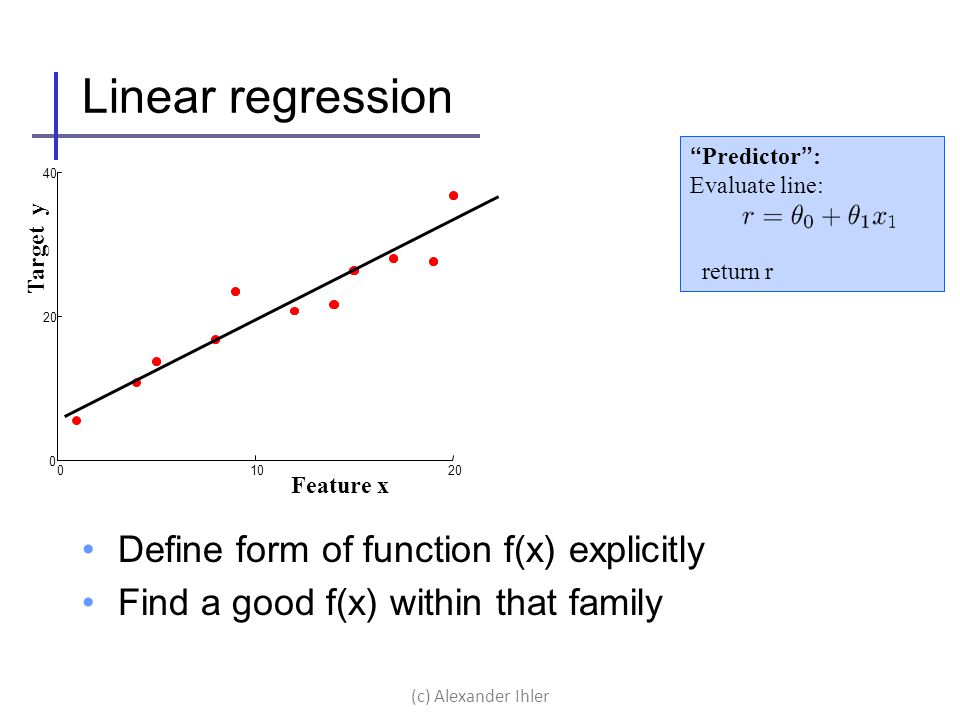 Linear regression Define form of function f(x) explicitly