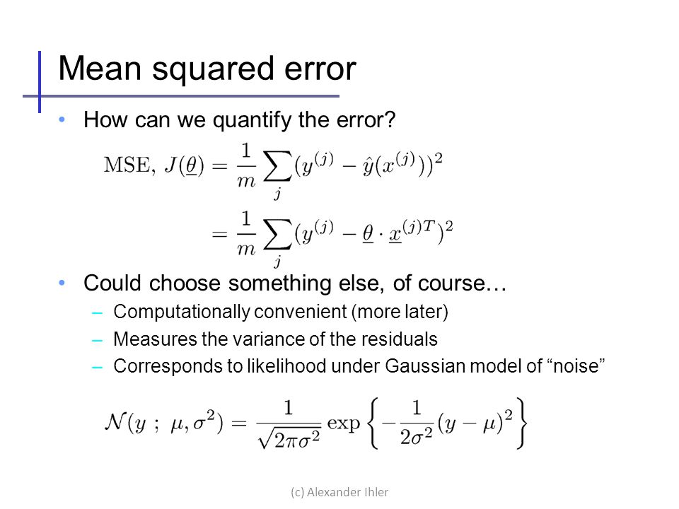 Mean squared error How can we quantify the error