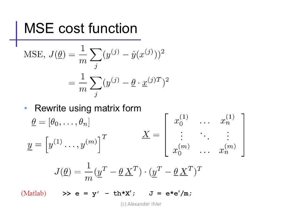 MSE cost function Rewrite using matrix form