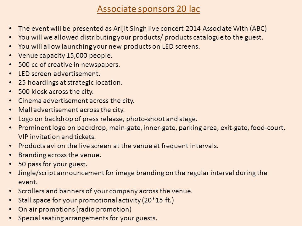 Associate sponsors 20 lac