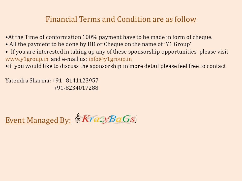 Financial Terms and Condition are as follow