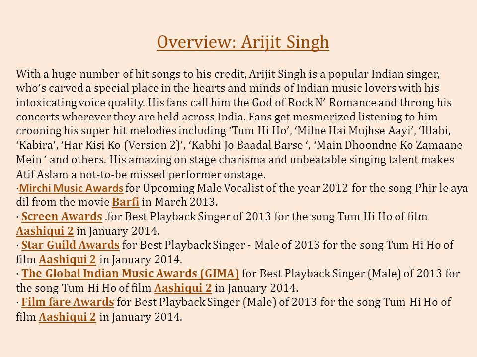 Overview: Arijit Singh