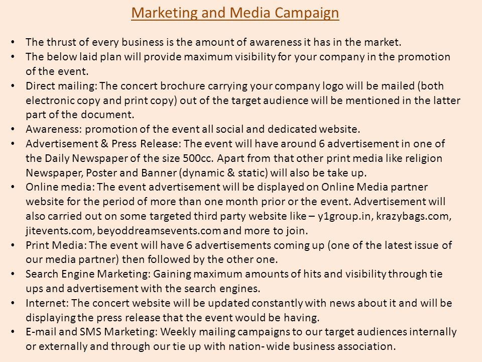 Marketing and Media Campaign