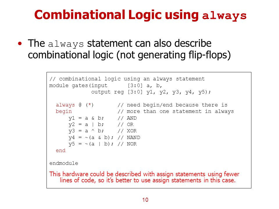 Combinational Logic using always