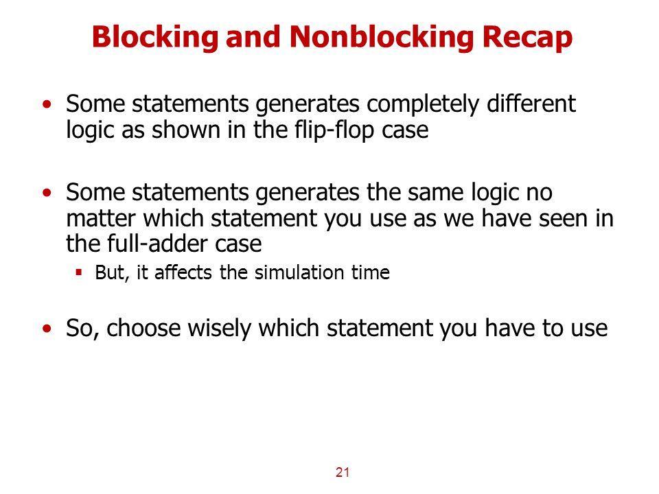 Blocking and Nonblocking Recap