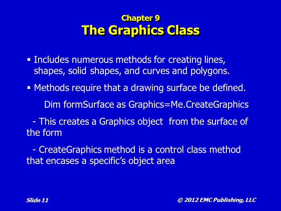 Chapter 9 The Graphics Class