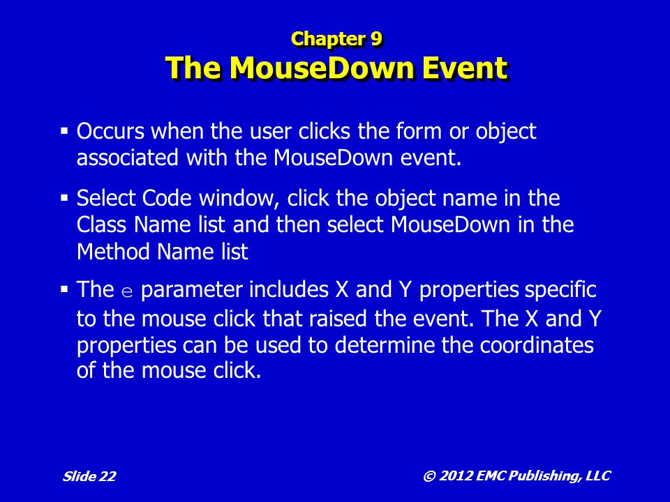Chapter 9 The MouseDown Event